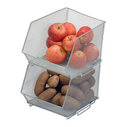 Mesh Stacking Bin, Silver - Onions and potatoes are often jumbled on the floor of my pantry. Wire mesh stacking baskets are a fantastic and attractive way to organize fruits and veggies.