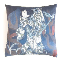 Poetic Pillow - Kabuki Scene II (Diptych) Hokushu Pillow - Transform any space with a pillow from Poetic Pillow. Each pillow is inspired by fine works of art and printed on the front and back.   Covers are made of pre-shrunk satin-like polyester fabric. All seams are finished to prevent fraying and pillow covers have a knife edge finish.. A concealed zipper allows for ease of inputting pillow inserts.  A duck feather insert is included for soft yet supportive feel.  Cushion inserts are encased in a cotton cover and filled with 100% duck feather.  All research, design and packaging is completed in Oakland, California.