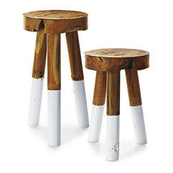 Serena & Lily - Dip-Dyed Stools, White - Everything looks better when it's dip-dyed these days.