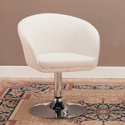 Coaster - White Contemporary Accent Chair - Choose from this selection of modern barstools, bar tables, and accent chairs. Each barstool offers adjustable height seating and is manufactured with a durable steel construction with a high polished chrome finish. Upholstered in durable leather-like vinyl.