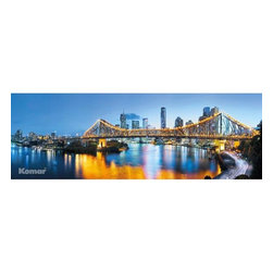 Brisbane Wall Mural - Brisbane the capital city of Queensland Australia is a gorgeous riverside metropolis. This city wall mural captures the glory of Brisbane at night with twinkling lights and the vast evening sky reflected in the water.