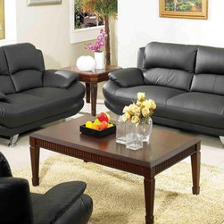 AC Pacific - Alice 601 Black Leather Sofa and Loveseat Set - 601-Sofa-Loveseat - Set Includes Sofa and Loveseat