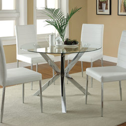 "Coaster - Vance 5Pc Dining Set, White - Cool style to refresh any home, the clean lines and modern look of the Vance collection feature a bold chrome leg base and a clear, round tempered-glass top. The matching black or white chairs feature a shiny chrome finish on the trim chairs legs for a sleek style in your kitchen or dining room.; Set includes Dining table and 4 pcs Dining Chair; Contemporary Style; Table Base: Chrome; Chair: White Vinyl; Dimensions: Dining Table: 41.25"" diameter L x 30""H; Dining Chair: 17""L x 19.75""W x 38.50""H"