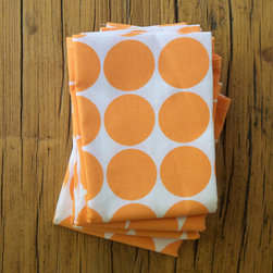 Cotton/Linen Tea Towel, Melon Dot by Printing Grounds - I love these cotton/linen kitchen towels with an energetic pale melon dot pattern. They will instantly bring character into your kitchen, and who couldn't use a new set of kitchen towels?