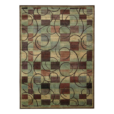"""Nourison - Nourison Expressions XP01 7'9"""" x 10'10"""" Brown Area Rug 58036 - Opposites attract when graceful swirls co-mingle with a modern cubist print. The understated color palette of affluent teal, brown, rust, cream, blue and mauve makes an incredibly expensive-looking statement. Stunning hand-carving adds extravagant texture, depth and dimension."""