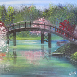 "Flower Bridge (Original) by Ward Parker ""The Woodpecker"" - When you can't walk on water, walk over it, the views are even better.  My signature woodpecker is hidden within this painting."
