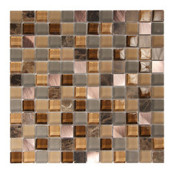 Impressions Dried Flowers Mosaic - Patterned glass and metal pieces form this elegant mosaic for any area.