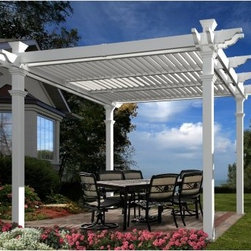 New England Arbors Avalon Louvered Pergola - Define an outdoor space for entertaining or relaxing with the New England Arbors Avalon Louvered Pergola. Giving you the perfect amount of shade when you need it, this pergola features three louvered panels that allow for completely customizable shade in any direction. It's constructed from premium vinyl by molding premium, hi-grade polymers around traditional structural elements. The result is a classic wood look without any necessary maintenance. When your pergola is dirty, simply spray it down with the garden hose.DimensionsOverall (includes roof): 151L x 151W x 104H in.From outside posts (excludes roof width): 120L x 120W x 104H in.Inside posts: 110L x 110 x 90H in.Posts: 5L x 5W in.Weight: 270 lbs.Assembly for the Avalon Louvered Pergola takes two people approximately 4 hours and you'll need a drill, level, ladder, and measuring tape. To install the pergola on a wood deck, you'll need the Bold Down Bracket System (sold separately). For in-ground installation, you can extend the posts with pressure treated lumber wood inserts from your local hardware store. The pergola come with detailed instructions to assist you through the assembly process.About New England ArborsThe world's leading manufacturer of premium vinyl arbor kits, New England Arbors was founded in a simple barn in the late 1990's. There the founders began replicating the beauty of New England design with simple, low-maintenance vinyl materials. The business has grown since then, now supplying arbors and trellises all over America and beyond. With headquarters in Port Huron, Mich., and Sarnia, Ontario in Canada, New England Arbors is dedicated to the creation of the most attractive and durable vinyl arbors possible.
