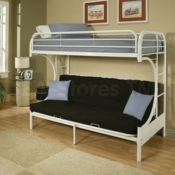 Eclipse White Metal Twin over Full Futon Bunk Bed -