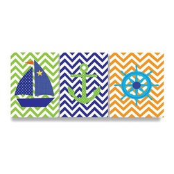 Stupell Industries - Sail Boat, Anchor, Captain's Wheel with Chevron Trio - Made in USA. Ready for Hanging. Hand Finished and Original Artwork. No Assembly Required. 15 in L x 0.5 in W x 33 in H (9 lbs.)The Kid's Room by Stupell is offering great new wall plaques for the lil' one's.  All plaques are mounted on half inch thick MDF wood and are made in USA!  Featuring original artwork, each plaque comes hand finished with hand painted edges and a sawtooth hanger on the back for instant use.