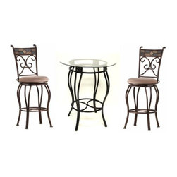 """Boraam - Boraam Beau 3 Piece Metal Pub Set in 42""""Bar Height in Black/Gold - 3 Piece Metal Pub Set in 42""""Bar Height in Black/Gold in the Beau Collection by Boraam The perfect 3 piece metal set for any home! The black accented with bronze color finish on the metal frame pairs nicely with the mellifluous kaki seat upholstery of the Beau stool, which complements the Beau pub table. The combination of the two offers great updated design and functionality!"""