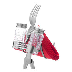 Forked Up Art - Table Topper - Fork - Business in the Front, Party in the back!! A great, All-in-one piece to put on your table top. Fits up to 30 regular napkins. Two(2) grid shakers included with purchase.