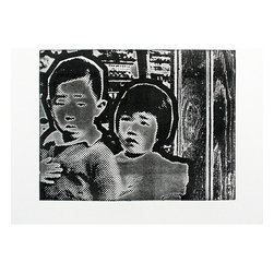"""""""Marc & Nina Pledge Alligiance"""" Artwork - Image of two interned Japanese-American children pledging allegiance in front of mainframe computers. Top-rolled etching in black on white rag paper."""