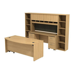 """BBF - BBF Series C 72"""" Bow Front Desk with Credenza with Hutch and Bookcases - BBF - Computer Desks - SRC0010LOSU - The complete office in one convenient bundle. Combining the BBF Series C 72"""" Bowfront Desk 72""""W Credenza 72""""W 4-Door Hutch (2) 18""""W 5-Shelf Bookcases 2-Drawer Mobile Pedestal (F/F) and 3-Drawer Mobile Pedestal (B/B/F) creates the ultimate in professional workspace storage and display. The 72""""W Bowfront Desk creates a large workspace with comfortable seating for guests while the wire management system keeps the desktop clear of cables and wires through desktop grommets and wire channels. The 72""""W Credenza accepts the 72""""W 4-Door Hutch adding concealed storage with Euro-style self closing hinges for a soft close and six open work-in-progress trays. A fabric covered tack board on the Hutch creates even more organizational space while the Mobile Pedestal units fit neatly under the desktop adding two box drawers and three file drawers. The two box drawers offer storage for office supplies and three file drawers accommodate letter legal and A4 size files. Each drawer operates on full-extension ball bearing slides to allow full access and is accented by contemporary brushed nickel hardware. Two 18""""W 5-Shelf Bookcases complete this office with additional storage and display space. With a finish to match any decor additional BBF Series C pieces allow for additional configurations as your needs evolve and grow. Solid construction meets ANSI/BIFMA test standards in place at time of manufacture; this product is American Made and is backed by BBF 10-Year Warranty."""
