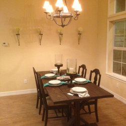 Farmhouse Table - Table, table settings, and wall vases are all available for sale on through our Facebook