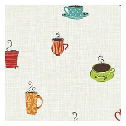 "York Wallcoverings - York Wallcoverings KB8507 Coffee Mug Wallpaper - Whimsical cups and mugs in bright colors and graphic design patterns full of steaming cappuccino, and surrounded by coffee beans, sit against a backdrop of open weave linen look fabric. This pattern is perfect for contemporary homes in a lively, yet warm palette perfect for kitchens, adjacent dining areas, or as the accent wall of a sunny breakfast nook. Use it alone or with its compliment border KB8500B-KB8503B. One measure of good fun; a dash of retro revival; sprinkle in today�s color palette-Blend to taste!Features:Prepasted: Paste has already been applied to the back of the wallpaper and is activated with water.Washable: May occasionally be cleaned by sponging with soap and warm water. Great for living rooms and bedrooms.Strippable: Easy to remove. Can be pulled off your wall in one piece without any wetting treatments or steamers.Design Match: Drop - The pattern will need to be aligned both horizontally and vertically with wallpaper panel on either side. Drop patterns require additional wallpaper to ensure the patterns match across all panels.Packaged and sold as a double rollMade in the USASpecifications:Design Repeat: 20.5""Double Roll Dimensions: 20.5 Inches x 33 Feet = 56 Square FeetLength: 396""Width: 20.5"""