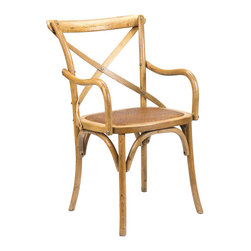 Kathy Kuo Home - Kasson French Country Light Oak Wood Dining Arm Chair - Evoking the seat at your favorite table in the boisterous brasserie, this French Country oak armchair is the perfect place to enjoy a meal or an evening of engaging conversation. The natural oak finish adds a rustic touch to the classic architecture, complemented by a hand-woven rattan seat and cross-hatch across the back for stylish support.