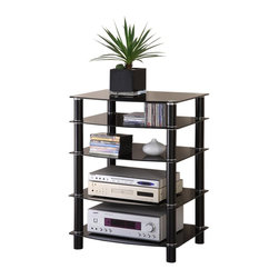 Walker Edison - Walker Edison Everest Black Multilevel Component Stand X-BPMC53V - This conveniently versatile component media stand allows you to customize the unit to meet your needs. Shelves may be interchanged or left out all together, offering heights ranging from 3-33 in. Crafted from durable steel tubing and thick, tempered safety glass. This stand provides ample storage space for A/V components and accessories while maintaining a neat look.Features:&#8226: Stylish, modern design&#8226: Beveled, tempered safety glass shelves&#8226: Each shelf supports up to 75 pounds&#8226: Interchangeable shelf spacing&#8226: Any lower may be excluded, offering various stand heights&#8226: Powder-coated steel legs&#8226: Ample storage space&#8226: Sturdy and solid construction&#8226: Ships ready-to-assemble with necessary hardware and tools&#8226: Assembly instructions included with toll-free number and online support