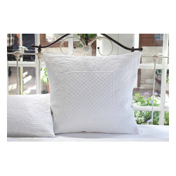 Taylor Linens - Abigail White Euro Sham - This sham will rise to the top of your list and your bed. Intricately quilted diamonds, rectangles, leaves, wreaths, dots and other shapes provide textural interest on the cotton percale. It's also completely machine washable so you can rest easy for sure.