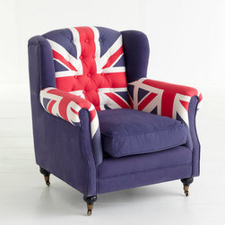 Union Jack Wingback Chair - Everything British still equals everything cool! I love the castered feet on this, too.