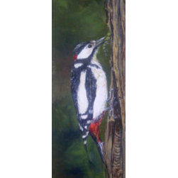 Woodpecker Perched On Tree (Original) By Nilha  Pearce - My husband loves birds and knows all the names of the ones that show up around our house. The woodpecker is on of his favorites so I painted this one with him in mind.