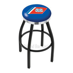 "Holland Bar Stool - Holland Bar Stool L8B2C - Black Wrinkle U.S. Coast Guard Swivel Bar Stool - L8B2C - Black Wrinkle U.S. Coast Guard Swivel Bar Stool w/ Chrome Accent Ring belongs to Military Collection by Holland Bar Stool Made for the ultimate sports fan, impress your buddies with this knockout from Holland Bar Stool. This contemporary L8B2C logo stool has a single-ring black wrinkle base with a 2.5"" cushion and a chrome accent ring that helps the seat to ""pop-out"" at glance. Holland Bar Stool uses a detailed screen print process that applies specially formulated epoxy-vinyl ink in numerous stages to produce a sharp, crisp, clear image of your desired logo. You can't find a higher quality logo stool on the market. The plating grade steel used to build the frame is commercial quality, so it will withstand the abuse of the rowdiest of friends for years to come. The structure is powder-coated to ensure a rich, sleek, long lasting finish. Construction of this framework is built tough, utilizing solid mig welds. If you're going to finish your bar or game room, do it right- with a Holland Bar Stool. Barstool (1)"