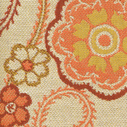 Sunbrella Splendor Fiesta Furniture Fabric - Sunny tangerine makes an appearance in Sunbrella's Fiesta Furniture Fabric.