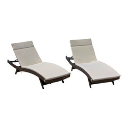 Great Deal Furniture - Lakeport Outdoor Adjustable Chaise Lounge Chairs With Cushion (Set of 2) - We guarantee that you have never seen a more beautiful chaise lounge chair than the Lakeport Outdoor Adjustable Chaise Lounge Chair. This chaise lounge chair is weather-resistant and has an adjustable angle back and folding legs for easy stacking. Its natural colors combine with its exotic styling to create a one-of-a-kind design that is perfectly suited for use beside a pool. The smooth, soft wicker is weather resistant and is carefully and meticulously crafted and shaped to form gorgeous curves that not only look great, but also seemingly wrap to your body, creating a luxurious escape to peace and quiet. The chair is absolutely ideal for sunbathing