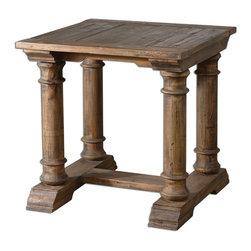 "Joshua Marshal - Wood Saturia 28""W Reclaimed Fir Accent Table - Wood Saturia 28""W Reclaimed Fir Accent Table"