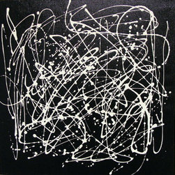 """Complicated (Original) by Debera - Complicated is a signed original acrylic painting that comes with a Certificate of Authenticity. I have an affinity for black canvas and this is the first of  I""""ve created.  Most days of a caregiver are complicated; A small area  provides just enough space for  frequent requests."""