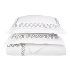 Clayton Full/Queen Duvet Cover Set Cotton - White/Grey - The Clayton Duvet Cover Set offers boundless relaxation and a refreshing sleep. The set is made from 100% premium quality cotton and features a graceful rustic pattern along the border of the duvet and the pillow shams. Update your bedroom at a reasonable price. Set includes One Duvet Cover 90x92 and Two Pillow-shams 20x26 each.