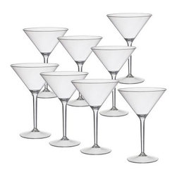 Creative Bath 9.75 oz. Martini Glass - Set of 8 - You don't have to break out the fine crystal to have a high-end cocktail hour. The Creative Bath 9.75 oz. Martini Glass - Set of 8 delivers the luxe look of craft cocktails in a laid-back construction. Crafted with durable clear acrylic material that can withstand bumps and drops, this set includes eight classic martini glasses. Hand wash.About Creative BathFor over 30 years, Creative Bath has developed innovative, stylish bathroom decor items. They have grown exponentially, and now you can find their products in major retail and online stores around the world. From shower curtains to soap dishes and everything in between, Creative Bath brings you high quality items to enhance your lifestyle.