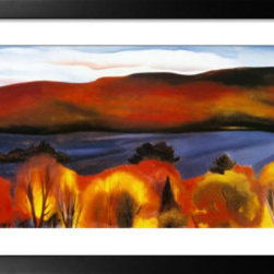 Artcom - Lake George, Autumn, 1927 by Georgia O&#146Keeffe - Lake George, Autumn, 1927 by Georgia O&#146Keeffe is a Framed Art Print set with a GRAMERCY wood frame and a Crisp - Bright White mat.