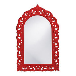 Howard Elliott - Orleans Red Mirror - This large, mirror features an arched, rectangular frame carved with an ornate scroll design. The piece is then finished in a glossy cherry red lacquer.