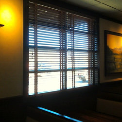 """Recent Projects - 2"""" faux wood blinds installed in Texas Steakhouse Newport News, VA by Nick Nixon (Interior VUES)."""