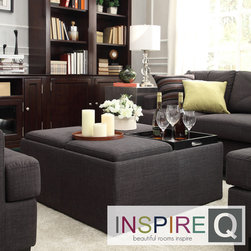 Inspire Q - Inspire Q Avenue Ebony Linen Tray Top Storage Cocktail Ottoman - This Avenue Collection ottoman feature lids that come off to reveal spacious storage compartments and, for cocktail hour, the lids invert to form a four-section coffee table. This stylish cocktail ottoman is the perfect accent piece to brighten any room.