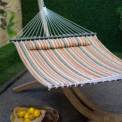 "Island Bay 13 ft. Sienna Stripe Quilted Hammock - Drift away a summer night in this cool quilted fabric hammock with stripes in alternating shades of brown and orange. Its massive width and sturdy quilted construction make it suitable for two adults if you're willing to share. This design is made with a spreader bar to hold the hammock open allowing for easier use in getting in and out. Though considering the comfort you'll still find it difficult to get out. Plus the free matching button-on pillow really ups the """"Ahhh"""" factor! The dimensions of the bed itself are 6 feet 5 inches in length and 4 feet 6 inches in width. Overall this hammock stretches a total of 11 feet 5 inches and requires a hanging distance of at least 13 feet with a 16-foot maximum. 450-pound maximum. Hanging hardware is included. Order today and prepare for an entire summer of relaxation."