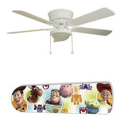 """Toy Story Characters 52"""" Ceiling Fan with Lamp - This is a brand new 52-inch 5-blade ceiling fan with a dome light kit and designer blades and will be shipped in original box. It is white with a flushmount design and is adjustable for downrods if needed. This fan features 3-speed reversible airflow for energy efficiency all year long. Comes with Light kit and complete installation/assembly instructions. The blades are easy to clean using a damp-not wet cloth. The design is on one side only/opposite side is bleached oak. Made using environmentally friendly, non-toxic products. This is not a licensed product, but is made with fully licensed products. Note: Fan comes with custom blades only."""