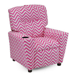 """Kidz World - Kidz World Ziggi Kid's Recliner in Pink - This is one of our new additions to our line of Kidz World Designer juvenile upholstered kid's recliners and it features the same quality construction and style of all our kid's recliners. Plastic cup holder recessed into the top right armrest. It is then upholstered in the new brushed polyester fabric featuring a pink and white zigzag pattern. This fabric has the added benefit of being able to be cleaned off very easily by gently rubbing with a damp cloth and mild soap and water. It also has the nice soft feel of a suede making it even more """"comfy"""" to sit in."""