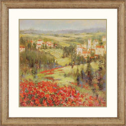 Paragon Decor - Provencial Village III Artwork - Fields of flowers and rolling hills are interspersed quaint villages.