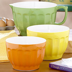 3-Piece Melamine Mixing Bowl Set - Every kitchen needs a citrus-colored trio of mixing bows. This melamine set includes 2-qt, 3-qt mixing bowls, and a 4-qt batter bowl that will make whipping up lemon bars or key lime pie that much more fun.