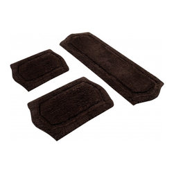 "Chesapeake Merchandising - 3 Piece Paradise Memory Foam Bath Rug Set in Sage, Brown - Step out of your tub onto the luxurious comfort of this exceptional bath mat set. Soft and very absorbent top layer and filled with memory foam, this set cushions your feet and feels great while you dry off and get ready for the day. Offers a skid-resistant base for safety. Dimensions: 22""W X 60""L and 21""W X 34""L and 17""W X 24""L; Color: Chocolate; Material: Polyester, SBR Latex, Memory Foam; Shape: Rectangular; Construction: Machine Tufted"