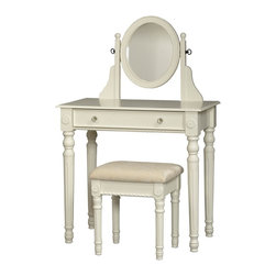 Linon Home Decor - Linon Home Decor Lorraine Vanity Set-White X-U-DK-10-THW01085 - The traditional styling of the Lorraine White Vanity Set is highlighted by the intricately detailed spindle legs on the vanity and matching stool. Enjoy some much needed personal grooming space with this attractive white vanity and stool set. The vanity features an adjustable mirror generously sized drawer. The spacious table top has room for an array of cosmetics, jewelry, and beauty supplies. The vanity is complimented by a thickly padded and upholstered stool. Ideal for teens and adults. Some assembly required.
