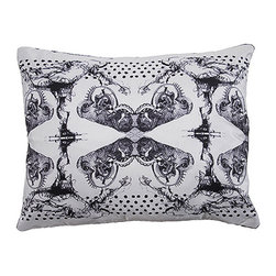 Tempo Luxury Home - Vintage Pillow from the Odyssey Collction by Joe Ginsberg - With its eye-catching ornamentation and intricate patterns, Vintage is suggestive of Victorian lithographs. This impressive designer pillow makes a wonderful accent in any setting. Pillow is printed on raw silk taffeta; velvet-textured backing in Flint. Fill: 75% goose down; 25% feather. Each pillow from the Odyssey Collection is made to order and has an approximate lead-time of three weeks.