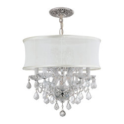 Crystorama - Crystorama 4415-CH-SMW-CLM Brentwood Chandelier - This isn't your Grandmother's crystal. The Brentwood Collection from Crystorama offers a nice mix of traditional lighting designs with large tailored encompassing shades. Adding either the Harvest Gold or the Antique White shade to these best selling skus
