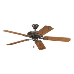 """Progress Lighting - Progress Lighting P2502-20 Airpro 52"""" 5-Blade Antique Bronze Indoor/Outdoor Ceil - 52"""" indoor/outdoor patio fan from AirPro. This fan includes 5 Oak blades with ABS all-weather material, Antique Bronze finish, and 15 year limited warranty. Powerful AirPro motor features 3-speed, triple-capacitor control that can also be reversed to provide year-round comfort. Quick install canopy securely holds fan for wiring during installation."""