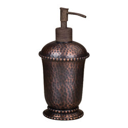 Gracious Goods GG - GG Collection Antique Copper Hammered Soap Dispenser - Easily update your kitchen or bathroom decor by getting rid of those everyday bottles! Built sturdy and durable, our Gracious Goods hammered soap dispenser is a beautiful addition to restrooms, guest rooms, lobbies, and more. Coordinate with the matching Antique Copper Bathroom Collection; the classic look of the hammered metal will match almost any bathroom decor! Complete with elegant beading around the pump shoulders.