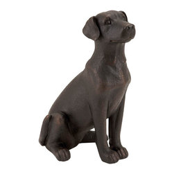 Benzara - Table Top Polystone Dog 16in.H, 10in.W Statue - Size: 16 in.  H, 10 in.  W Polystone Material