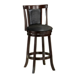 """Monarch Specialties - Monarch Specialties 1287 Swivel Barstool in Black and Cappuccino [Set of 2] - Add a touch of style to any dining room or game room with these 43"""" high swivel bar stools. These framed black leather-look cushioned stools have sturdy solid wood legs and come in a beautiful rich cappuccino finish. Its full ring, well positioned footrest also offers stability and comfort. This piece is sure to be memorable throughout many evenings with friends and family."""