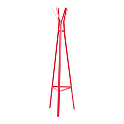 """Southern Enterprises Inc - Southern Enterprises Inc Heights Hall Tree-Watermelon X-3847EH - Brighten up your entryway and prevent clutter with this metal hall tree. The lively color and simple design make this hall tree a wonderful addition for any home. Clean, modern lines and modern design merge in this playful hall tree. The triangular base tapers up to the top, creating a pyramid. The shape provides stability and design, while the hanging hooks create an attractive storage solution. This metal hall tree is perfect for homes with contemporary and modern d&#233:cor. Add this hall tree to your entryway, hall, or any spot you hang your hat! Please note: Our photos are as accurate as possible, but color discrepancies may occur between the product and your monitor. The handcrafted touch of artisan skill also creates variations in color, size and design: slight differences should be expected. - 17.25"""" W x 15.75"""" D x 65.25"""" H - Includes 6 hooks for hanging coats and accessories - Base: equilateral triangle with 17.25"""" long sides - Watermelon finish - Supports up to 10 lb. per hook - Constructed of metal with powder-coated finish - Assembly required"""